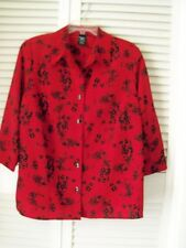 GEORGE:DESIGN Shirt  Red coloFloral  100%Polyester Size 18 W-20W E17
