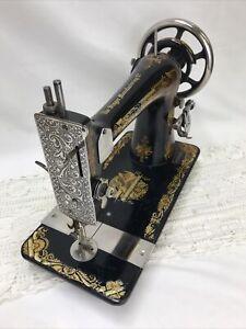 SERVICED Antique Singer Sewing Machine Sphinx Ornate Treadle Head 27 Heavy Duty