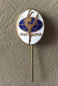Rare Sport Rhythmic gymnastic Championship Varna Bulgaria 1969  enamel pin badge