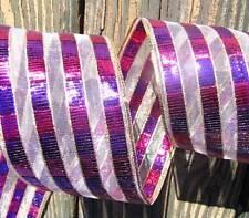 "5 Yards Pink Purple Gold Semi Sheer Wired Ribbon 2 5/8""W"