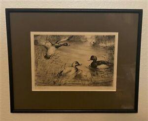 Original HENRY JACKSON SIMPSON Signed Sporting Art Etching - The Feeding Ground