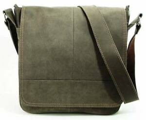 Argentine Small Postman Bag in Worn Leather w/Strap - Gray