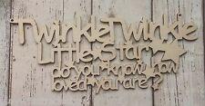Twinkle Twinkle Little Star unpainted laser cut 3mm birch plywood plaque