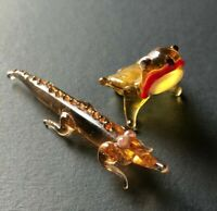 Vintage Lampwork Art Glass Animal Frog & Alligator Miniatures Tiny Hand Blown