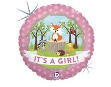 """It's A Girl Woodland Creatures 18"""" Balloon Baby Shower Decorations"""