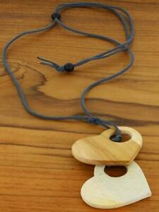 Double Wooden Heart Adjustable Necklace