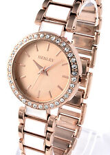 Henley Ladies Real Crystal Bracelet Watch Rose Gold Tone and White Enamel Links