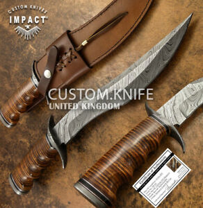 IMPACT CUTLERY RARE CUSTOM DAMASCUS  BOWIE KNIFE STACKED LEATHER HANDLE
