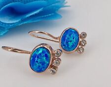 14K Rose Gold Over Sterling Silver, Blue Opal & CZ Dangle Earrings, New
