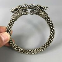 Collectible Chinese Old Tibet Silver Handwork Double Dragon Auspicious Bracelet