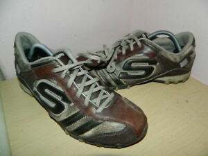 mens Skechers brown mix leather lace up shoes trainers uk 7 eur 40