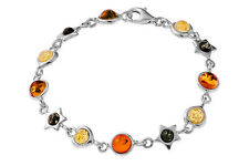 925 Sterling Silver Natural Amber Multicoloured Bracelet Jewellery Jewelry
