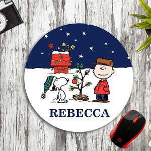 SNOOPY CHARLIE BROWN CHRISTMAS PERSONALIZED NAME CUSTOM PC MOUSE PAD DESK MAT