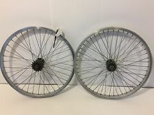 "Pair of 20"" BMX Bicycle Wheels Silver Aluminum Rims Black Hubs  Old School   282"
