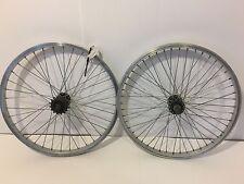 "Pair of 20"" BMX Bicycle Wheels Silver Aluminum Rims Black Hubs  Old School   282"