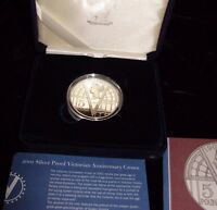 VICTORIAN ANNIVERSARY CROWN 1901-2001 1 OUNCE STERLING SILVER COIN ORIGINAL BOX