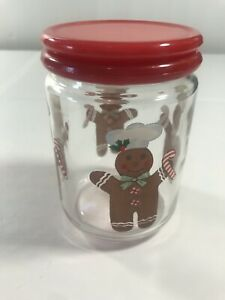 Gingerbread Man Glass Clear Cookie Snack Jar Canister Red Lid Holiday Christmas