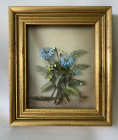 Vintage E.Nogar Blue & Yellow 3D Original Oil Painting Hand Made Gold Frame