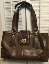 COACH Hampton Brown Embossed Leather Stitch Signature C Satchel Shoulder Handbag