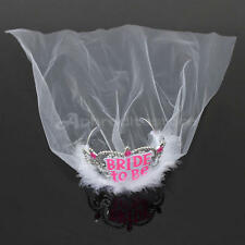 White Bride to Be Tiara+Veil - Hen Night Party Bachelorette Bridal Shower
