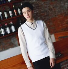 Men's Sweater Vest Warm Cotton Knitted V-Neck Sleeveless Pullover Tops M-3XL New