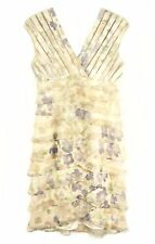 Scarlett Nite Layered Cocktail Dress Beige Floral Watercolour Print Empire Sz 6