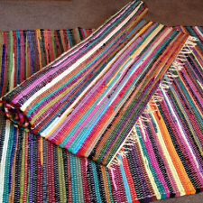 Fair Trade Recycled Rag Rug Hand Loomed Indian Bright Multi Colors Chindi Mats