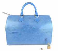 AUTHENTIC LOUIS VUITTON SPEEDY 30 BLUE EPI LEATHER DOCTOR HAND BAG + LOCK&KEY.