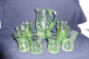 Rare Vintage Art Deco UV Glow Green Depression Glass Nine Piece Lemonade Set
