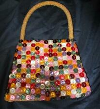 K C Malhan Small Multi Colored Button Covered Purse W Beaded Strap [New
