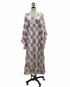 H&M CREAM FLORAL MAXI DRESS WITH FLOUNCES CHIFFON LONG BELL SLEEVES Sz 6 NEW