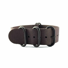 5-Ring Dark Brown Ballistic Nylon ZULU / G10 NATO Watch Strap (Black 20mm, 22mm)