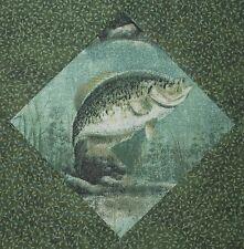 9 NEW Fish Quilt Top Blocks - Fishing Hautman Fabric In Greens