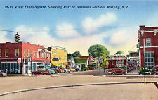Murphy NC View from Square Showing Business District Postcard circa1950