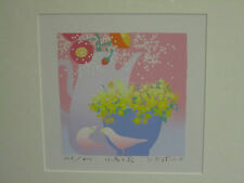Kotaro Yoshioka Original Japanese Silkscreen Print 20th c. Flowers Birds Signed