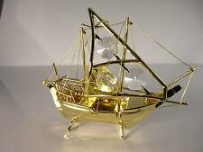 Fischerboot mit Swarowski Kristallen Bestückt  Gold Plattiert Boot Schiff Neu
