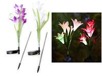 Solar Flower Garden Stake Lights (2 Pack) Garden Lilly Flowers Multi Color LED