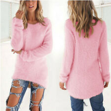 Women's Warm Jumper Tops Velvet Fluffy Sweater Blouse Loose Casual Knit Pullover Pink 8