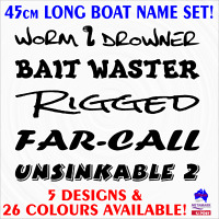 45cm Tinny,Runabout,Half cabin,Fishing boat funny names marine decal sticker set