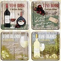 Vino Rosso / Bianco set of 4 drinks coasters (na) REDUCED TO CLEAR