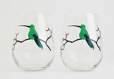 Hummingbird Glass - Set of 2 Hand Painted Stemless Glasses, Mothers Day Gift