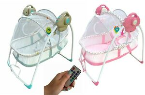 Electric Smart Baby Cradle Musical Swing Moses Basket Cot Bed with Insect Net