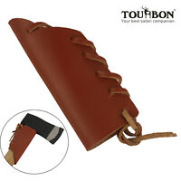 Genuine Leather Axe Handle Guard Collar Holster Haft Ax Protector Brown-TOURBON