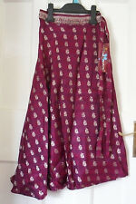WOMENS UTTAM LONDON CHERRY HAND MADE DESIGN SILK WRAP Skirt SIZE:10/38 BNWT