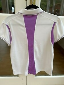 Ladies Golf Polo Shirt Daily Sports White  And Lilac Trim Size Large
