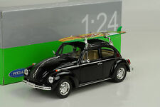 1959 Volkswagen VW Käfer Beetle Hard Top Surfbrett schwarz black 1:24 Welly
