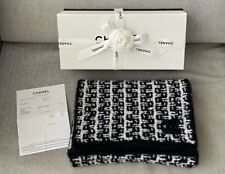 Authentic New CHANEL Black 98% Cashmere 2% Silk Thick Soft Knit Stole long Scarf