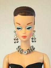 Barbie Doll Vintage Handmade Light Blue Necklace Earrings Jewelry Set NE100111