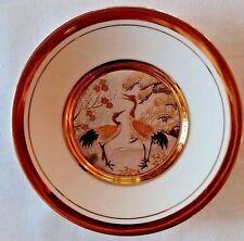 Vintage Chokin Bird Plate, White Silver Gold Plate, Japanese Bird Plate 6 in