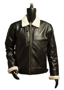 Men's Aviator B3 Ginger Sheepskin Leather Bomber Jacket (Artificial fur)